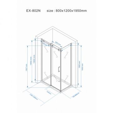 Tuš paravan EX802NS dim staklo 80x120x195